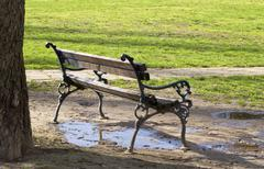 empty wooden bench - stock photo