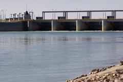 koksaray on the syr darya river - stock photo