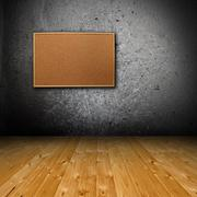 Interior backdrop with corkboard on wall Stock Illustration