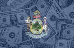 Stock Illustration of us state of maine flag with transparent dollar banknotes in background