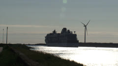 IJMUIDEN, NORTH SEA CANAL  Cruise ship departs to Sea Stock Footage