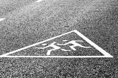 Warning road sign - caution children! Stock Photos