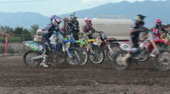 Motorcycle riders ready to race motocross HD 8242 Stock Footage