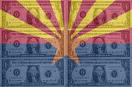 Stock Illustration of us state of arizona flag with transparent dollar banknotes in background