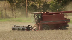 Soybean combine Stock Footage