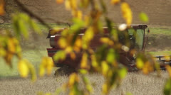 Soybean combine harvesting lef tto right viewed  through fall trees Stock Footage