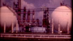 1950s 8mm film oil refinery Corpus Christi Texas business presentation outdoor Stock Footage