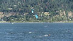 Kiteboarding, kitesurfing, kiteboarder, kitesurfer Stock Footage
