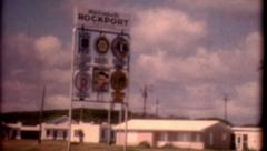 1970s old film Rockport Texas Sign vintage Stock Footage