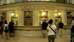 Grand Central Station ticket booth Stock Footage