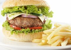 Hamburger with cheese Stock Photos