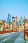 Downtown Minneapolis, Minnesota yöaikaan Kuvituskuvat