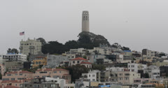 Ultra HD 4K San Francisco Skyline Aerial Telegraph Hill Coit Tower North Beach Stock Footage