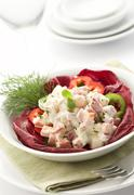 Salad served with mayonnaise Stock Photos