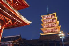 Asakusa temple by night Stock Photos