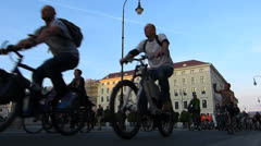 TL  Munich Bike Night annual event bicycle Germany Bavaria Stock Footage