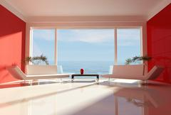 red and white beach house - stock illustration