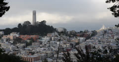 Ultra HD 4K San Francisco Bay Area Skyline, Telegraph Hill Iconic Coit Tower Stock Footage