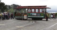 Ultra HD 4K San Francisco Tram Cable Car Push Pull Turn Around Railway Turntable Stock Footage