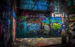 In the graffiti alley, baltimore, maryland. Stock Photos