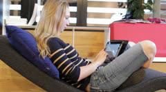 Female Student Using Tab Stock Footage