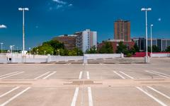 View of highrises in towson, maryland from the top of a parking garage. Stock Photos