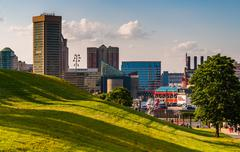view of the baltimore skyline from federal hill. - stock photo