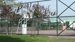 Empty basketball court zoom in Stock Footage