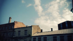 Flying saucer scouts over abandoned factory. Stock Footage