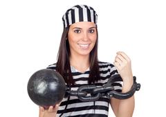 Beautiful prisoner with inmate ball Stock Photos