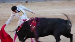 Work bullfighter with bull. Close-up Stock Footage