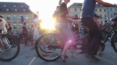 SM Munich Bike Night annual event bicycle gathering Germany Bavaria Stock Footage