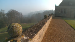 Overlooking the wall of a stately home Stock Footage
