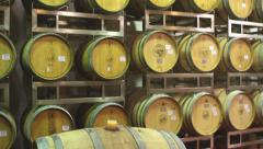 Wine barrels in winery Stock Footage
