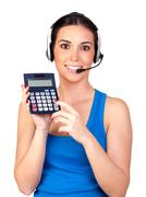 Attractive teleoperator with headphones and a calculator Stock Photos