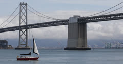 Ultra HD 4K Oakland Bay Bridge San Francisco Skyline, Sail Boat Passing, Ship Stock Footage