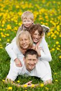 family having fun in nature - stock photo