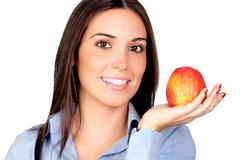 beautiful girl with a red apple - stock photo
