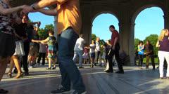 Munich Hofgarten Palace park Diana Temple dancing group Stock Footage