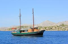 Fisherman sailing boat, Kornati, Dalmatia Stock Photos