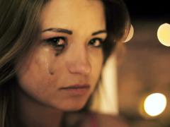 Beautiful sad woman crying in the night NTSC - stock footage