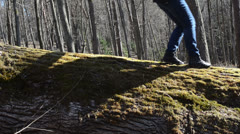 Old moss fallen tree trunk goes girl  with black sneakers Stock Footage