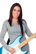 attractive girl with a blue electric guitar - stock photo
