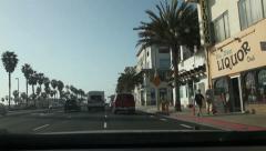 Driving along Huntington Beach, California Stock Footage