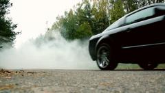 car rides through the fog.montage - stock footage