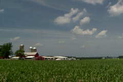 Driving by a rural farm and corn field on a country road Stock Footage