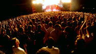 Stock Video Footage of Crowd at a rock concert, back light silhouette