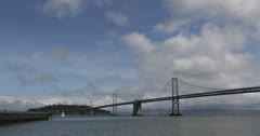 Ultra HD 4K Oakland Bay Bridge San Francisco Skyline, Tourists enjoy ferry ride Stock Footage