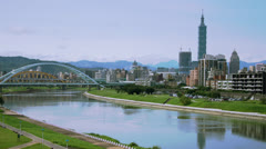 Stock Video Footage of Sunny Taipei Skyline Pan 150GYTS_NTSC