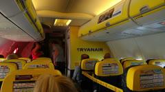 Inside a Ryanair airplane Stock Footage